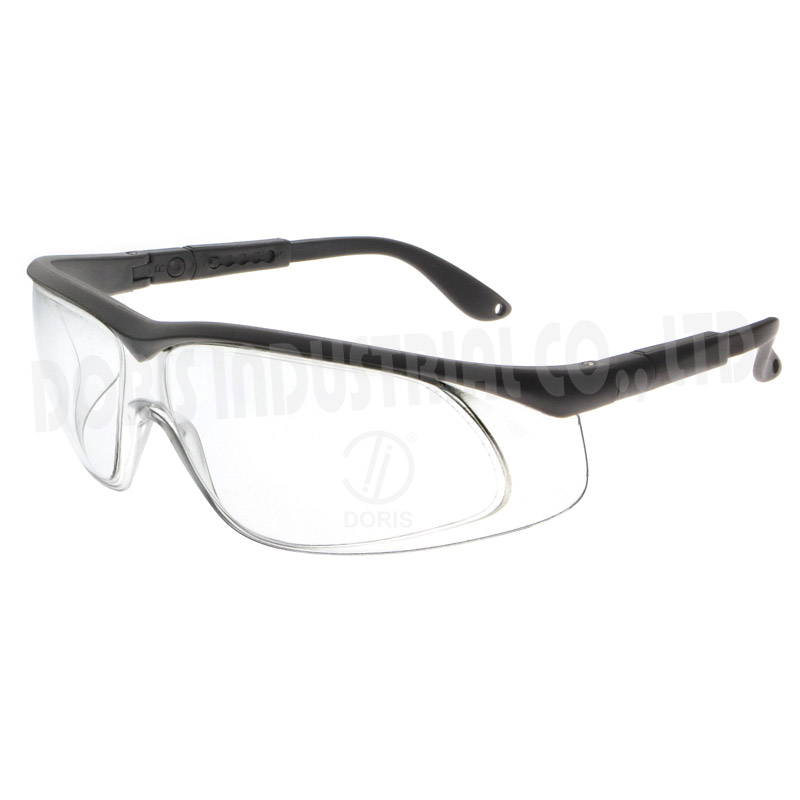 Half-frame safety eye glasses with side shields
