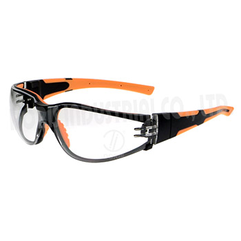 Industrial safety spectacles with interchangeable temples and strap
