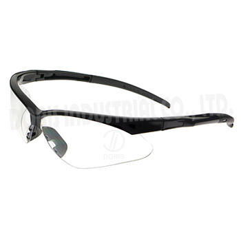 Half frame safety eyewear with slim temples