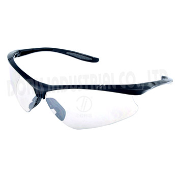 Clear safety glasses with half frame style