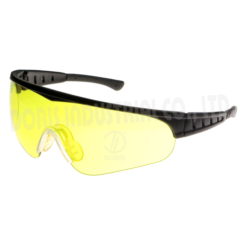 Half frame safety glasses with vented temples