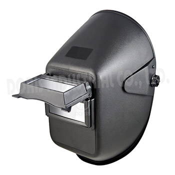 Welding helmet with lift-up lens holder