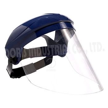 Face shield with adjustable ratchet style headgear