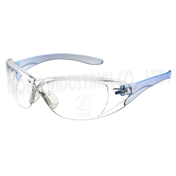 Protective wrap around eyeglasses with brow guard